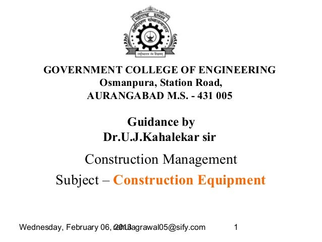 Wednesday, February 06, 2013rahulagrawal05@sify.com 1GOVERNMENT COLLEGE OF ENGINEERINGOsmanpura, Station Road,AURANGABAD M...