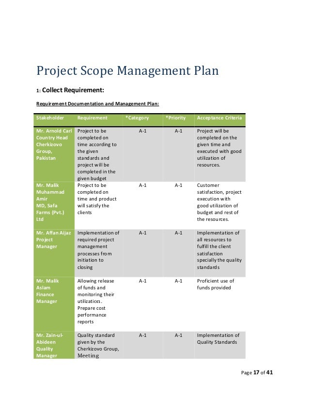 Planning Plan Project Project Scope Management Plan