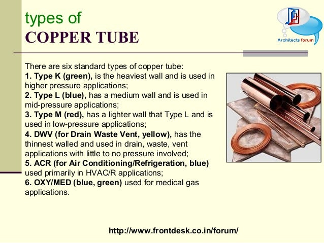 Non ferrous metal for Copper pipe types