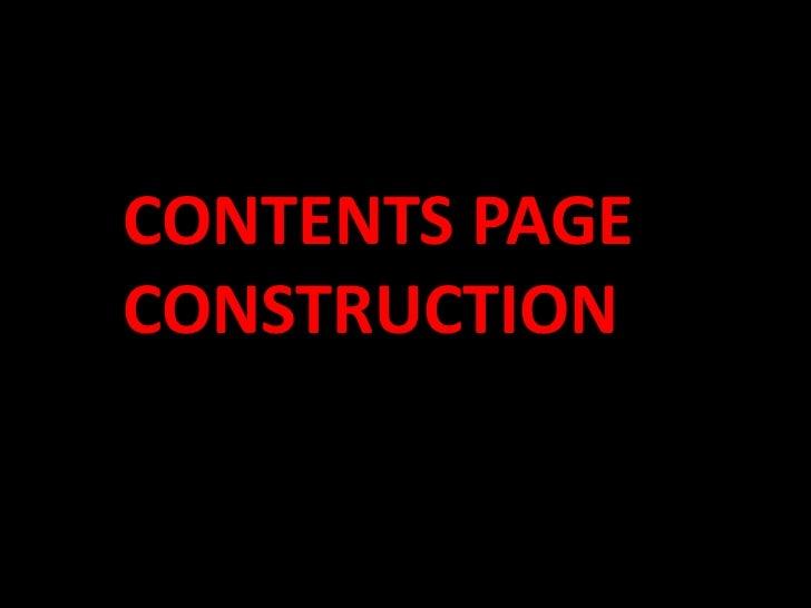 CONTENTS PAGECONSTRUCTION