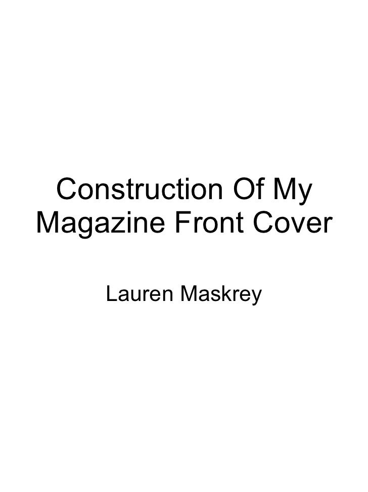 Construction Of My Magazine Front Cover