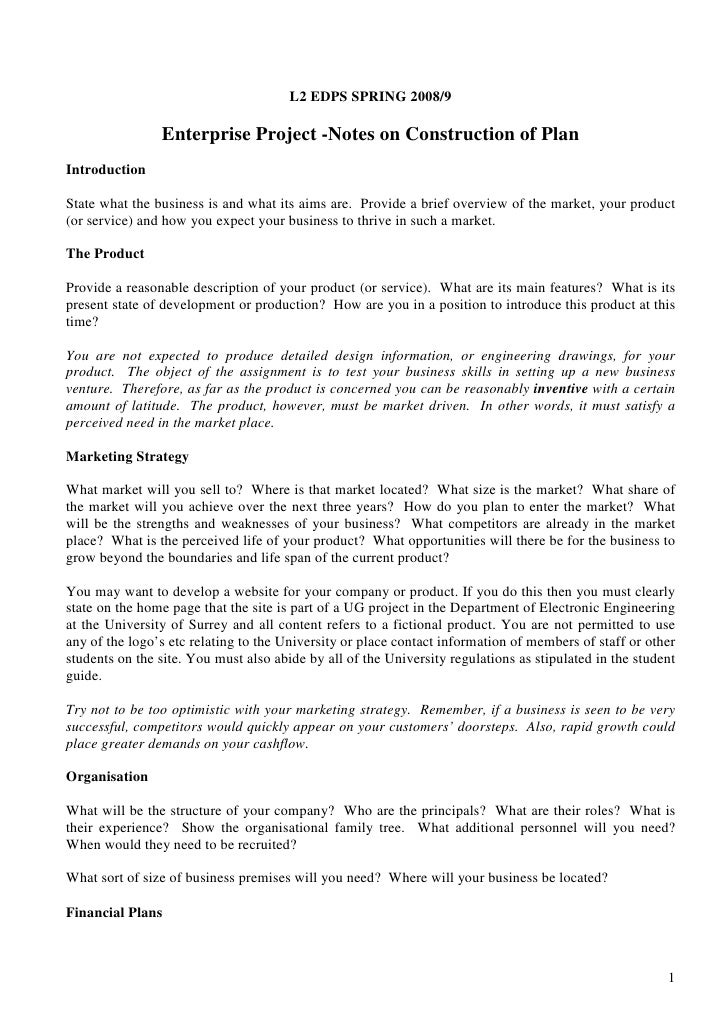 L2 EDPS SPRING 2008/9                  Enterprise Project -Notes on Construction of Plan Introduction  State what the busi...