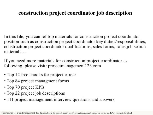 Project Manager Job Description Office Coordinator Job Description