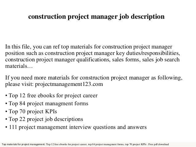 job description of project manager center project manager job – Construction Job Description
