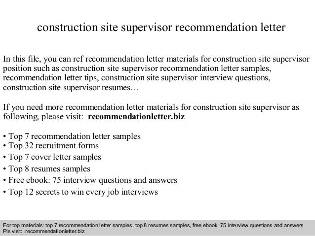 Construction Site Supervisor Recommendation Letter