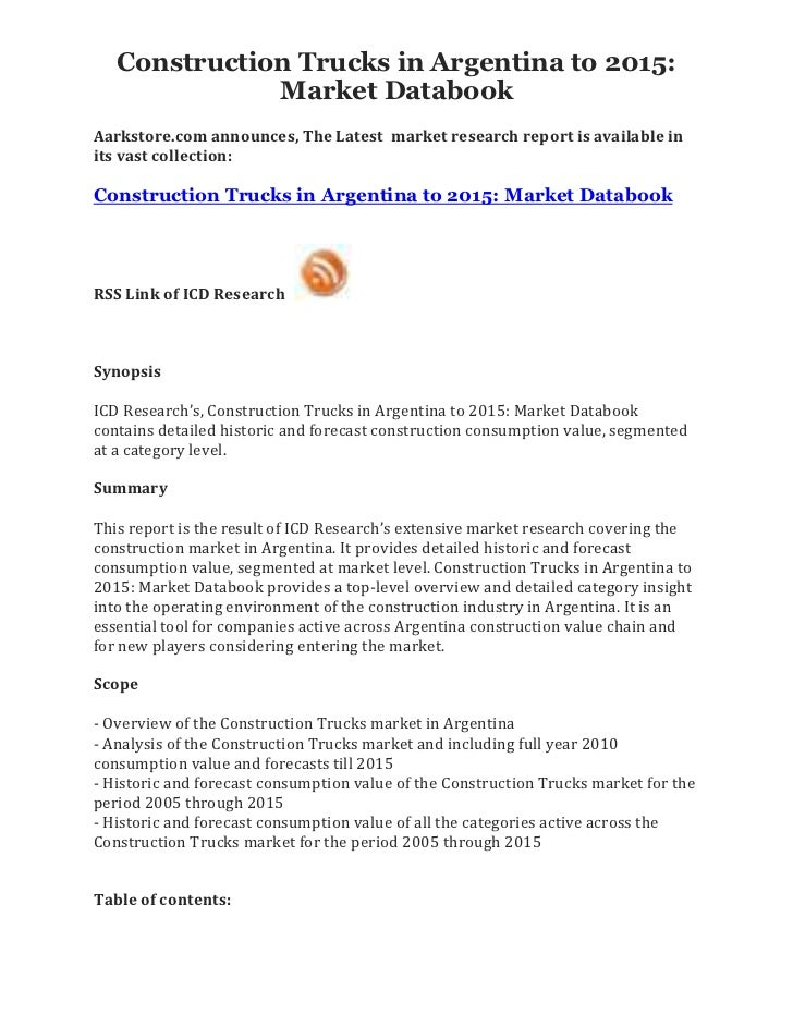 Construction Trucks in Argentina to 2015:              Market DatabookAarkstore.com announces, The Latest market research ...
