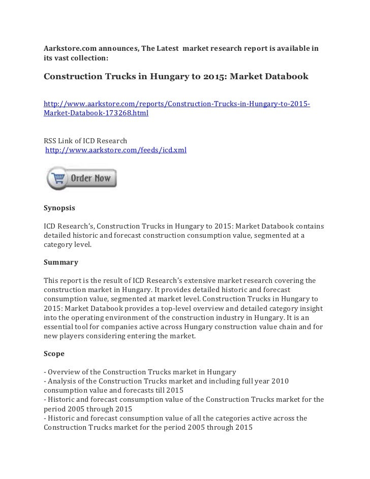 Construction trucks in hungary to 2015 market databook