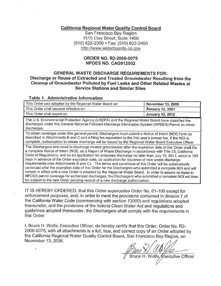 Construction Water Npdes   Order No R2 2006 0075rev