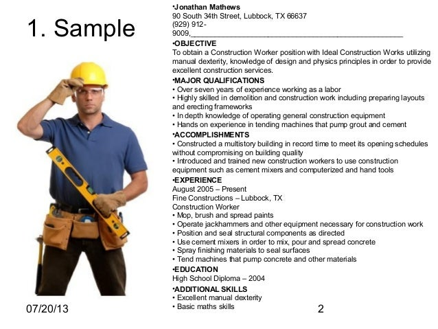 sample construction worker resume
