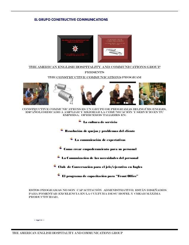 capacitacion hotelera, recepcion, cultura servicioConstructive communications portfolio