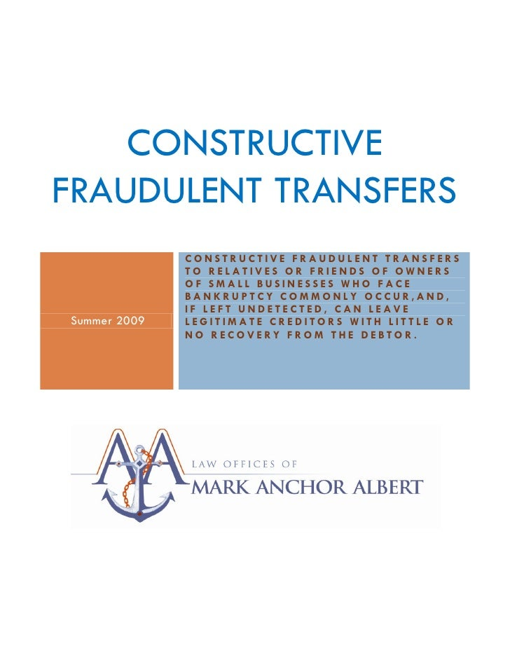 Constructive Fraudulent Transfers 2