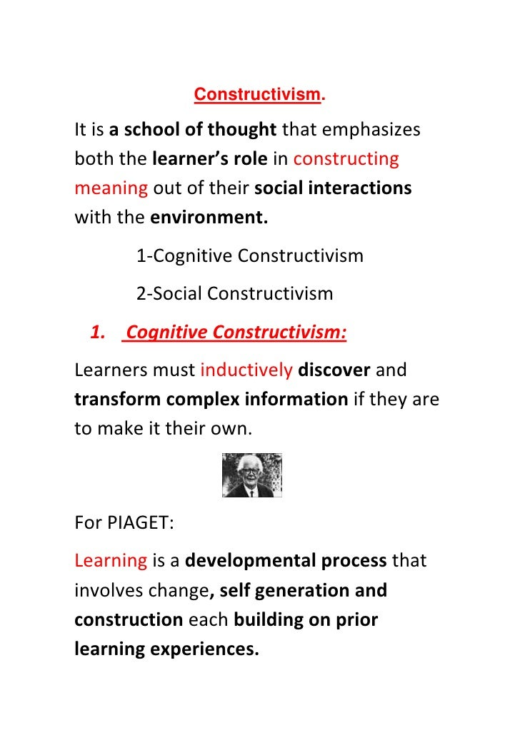 constructivism and vygotsky Lev vygotsky, the russian psychologist, died young at 37 in 1934, but  on his  social constructivism, the idea that learning is fundamentally a.