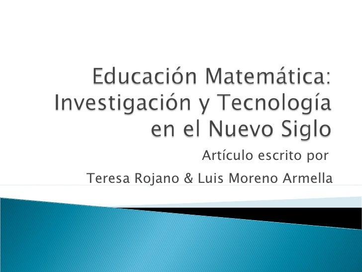 Matemática Educativa y Tecnología