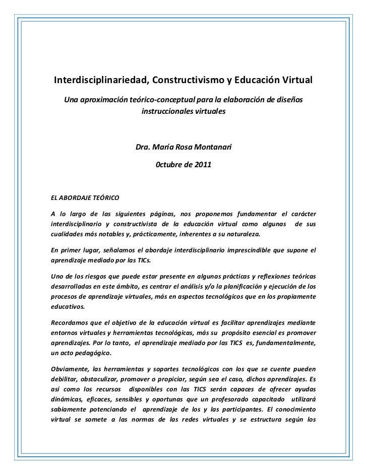 Interdisciplinariedad, Constructivismo y Educación Virtual    Una aproximación teórico-conceptual para la elaboración de d...