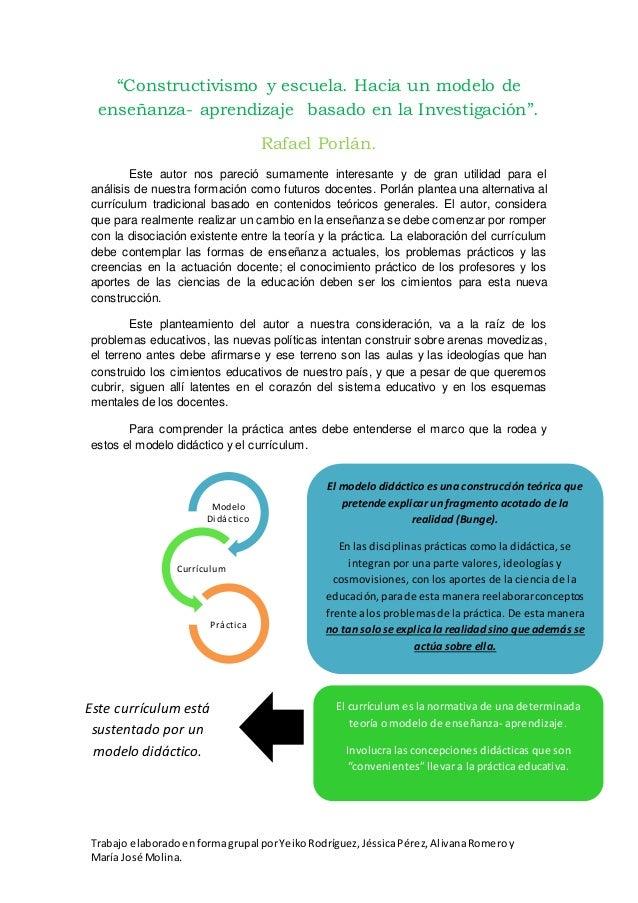 """""""Constructivismo y escuela. Hacia un modelo de  enseñanza- aprendizaje basado en la Investigación"""".  Rafael Porlán.  Este ..."""