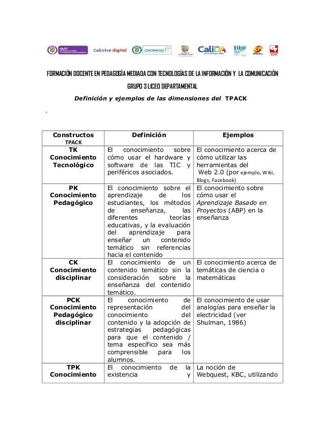 FORMACIÓN DOCENTE EN PEDAGOGÍA MEDIADA CON TECNOLOGÍAS DE LA INFORMACIÓN Y LA COMUNICACIÓN GRUPO 3 LICEO DEPARTAMENTAL Def...