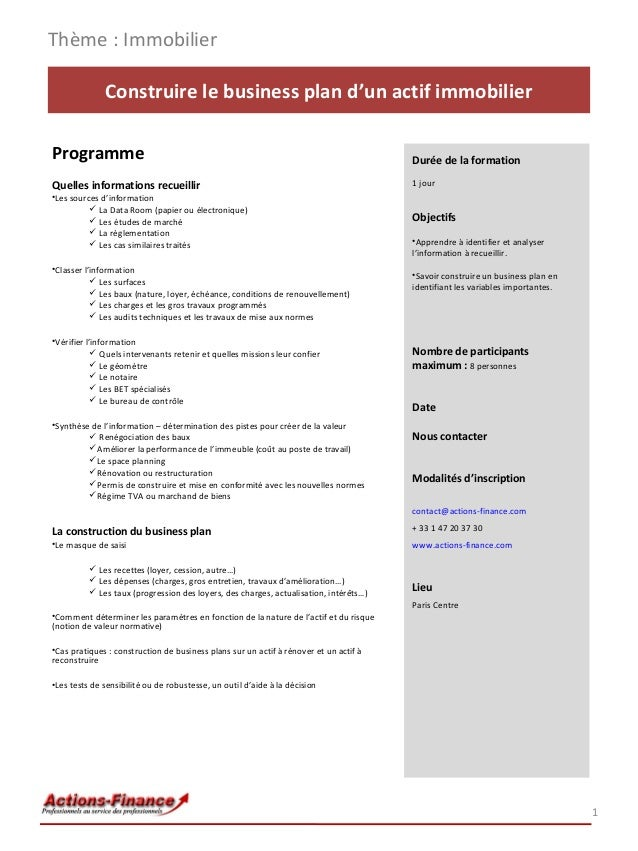 Formation construire le business plan d un actif immobilier for Construire un plan en ligne