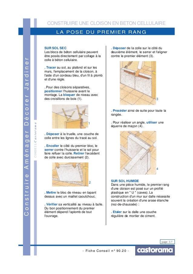 Construire une cloison en beton cellulaire - Sol en beton cellulaire ...