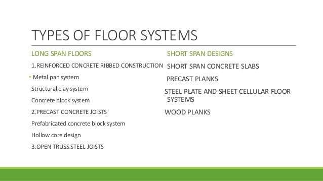 System Architecture Types Types of Floor Systems Long