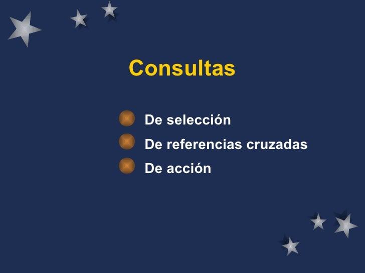 Consultas De selección De referencias cruzadas De acción