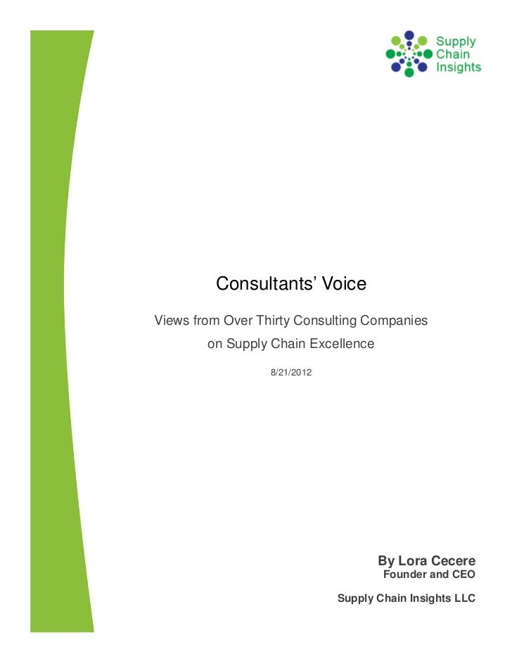 Consultants' Voice on Supply Chain Excellence - 20 August 2012