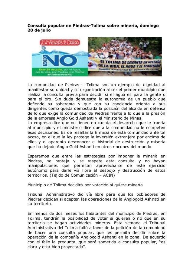 Consulta popular en Piedras-Tolima sobre minería, domingo 28 de julio La comunidad de Piedras – Tolima son un ejemplo de d...