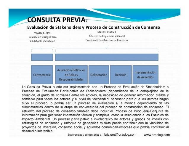 CONSULTA PREVIA:Evaluación de Stakeholders y Proceso de Construcción de Consensowww.orasicg.comLa Consulta Previa puede se...