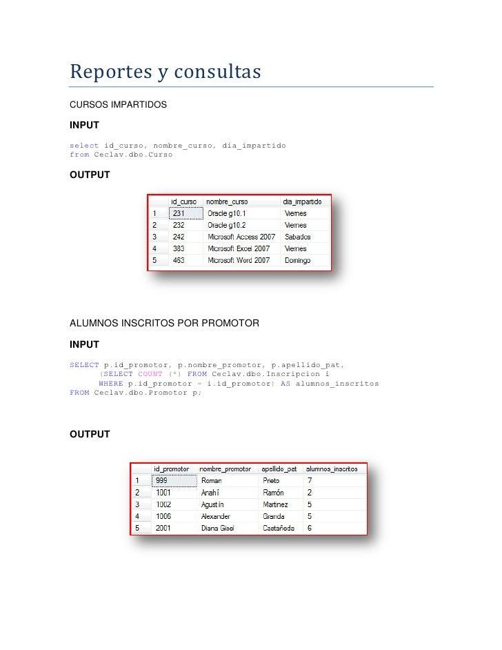 Reportes y consultas CURSOS IMPARTIDOS  INPUT select id_curso, nombre_curso, dia_impartido from Ceclav.dbo.Curso  OUTPUT  ...