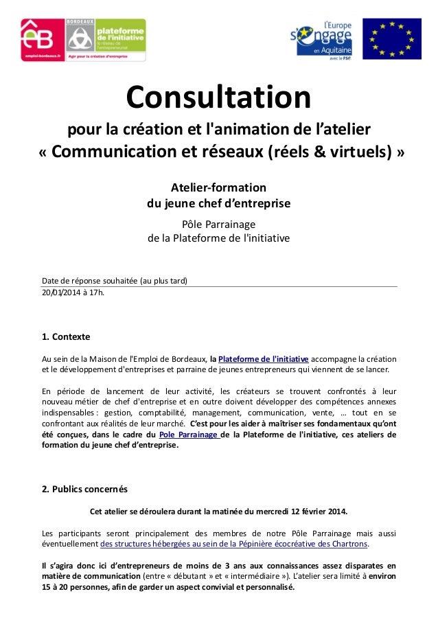 Consultation pour la création et l'animation de l'atelier « Communication et réseaux (réels & virtuels) » Atelier-formatio...