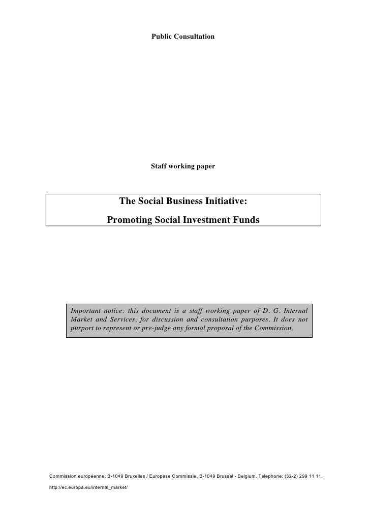 The Social Business Initiative: Promoting Social Invesment Funds