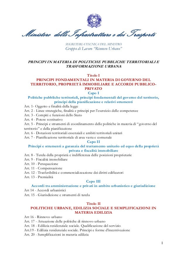 """1 Ministero delle Infrastrutture e dei Trasporti SEGRETERIA TECNICA DEL MINISTRO Gruppo di Lavoro """"Rinnovo Urbano"""" PRINCIP..."""