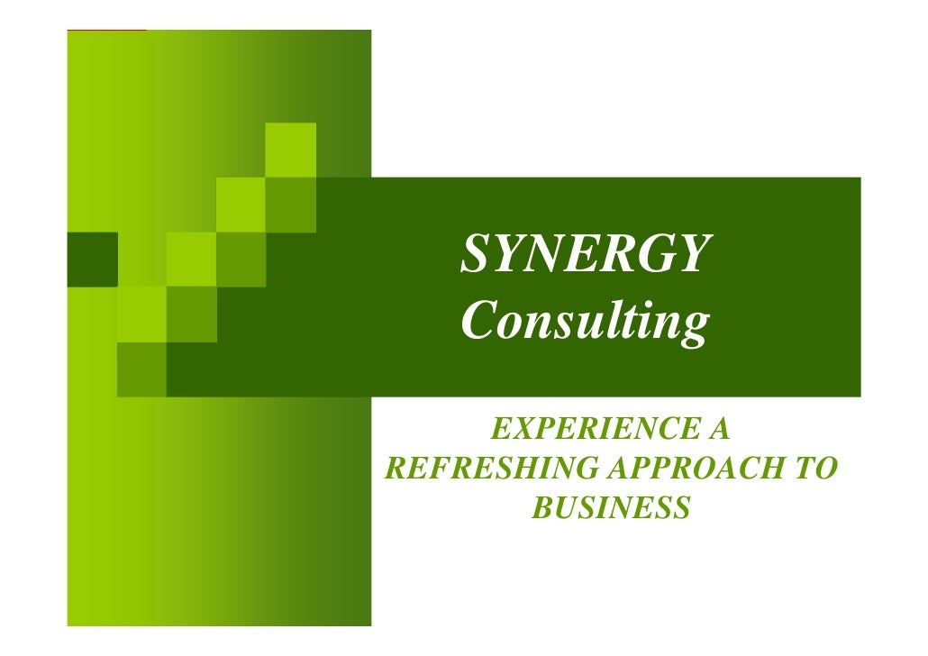 SYNERGY    Consulting      EXPERIENCE A REFRESHING APPROACH TO        BUSINESS