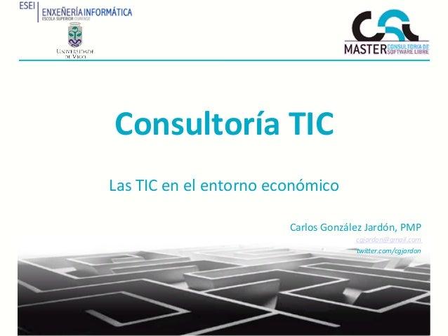 Consultoría TIC Las TIC en el entorno económico                                       Carlos González ...