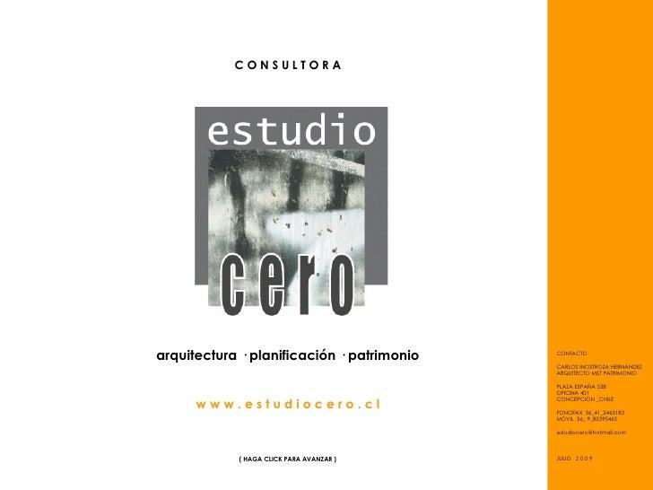 CONSULTORA     arquitectura · planificación · patrimonio   CONTACTO                                              CARLOS IN...