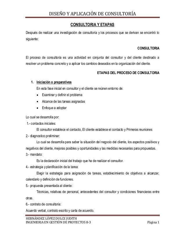 DISEÑO Y APLICACIÓN DE CONSULTORÍA CONSULTORIA Y ETAPAS Después de realizar una investigación de consultoría y los proceso...