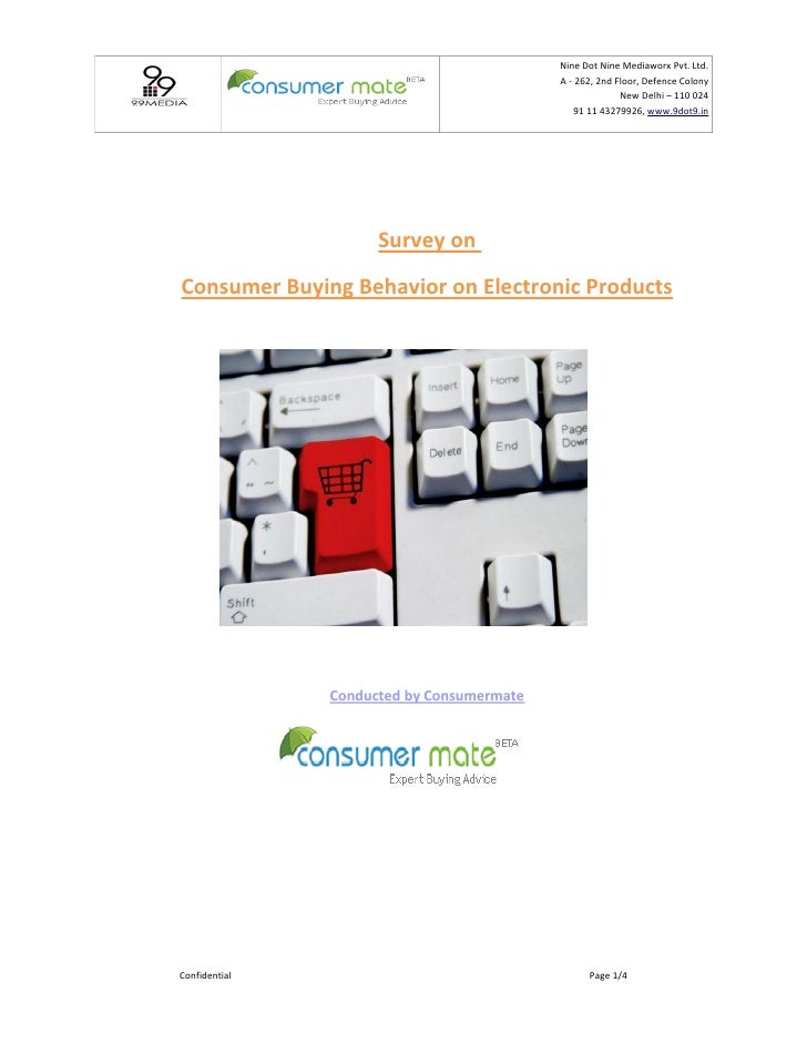 Survey Report on Consumer Buying Behavior on Electronic Products by Consumermate
