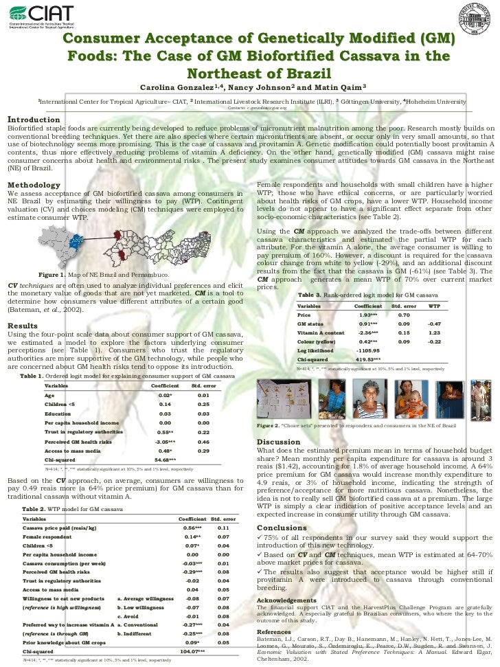 Poster30: Consumer acceptance of genetically modified (GM) foods: The case of GM biofortified cassava in the Northeast of Brazil
