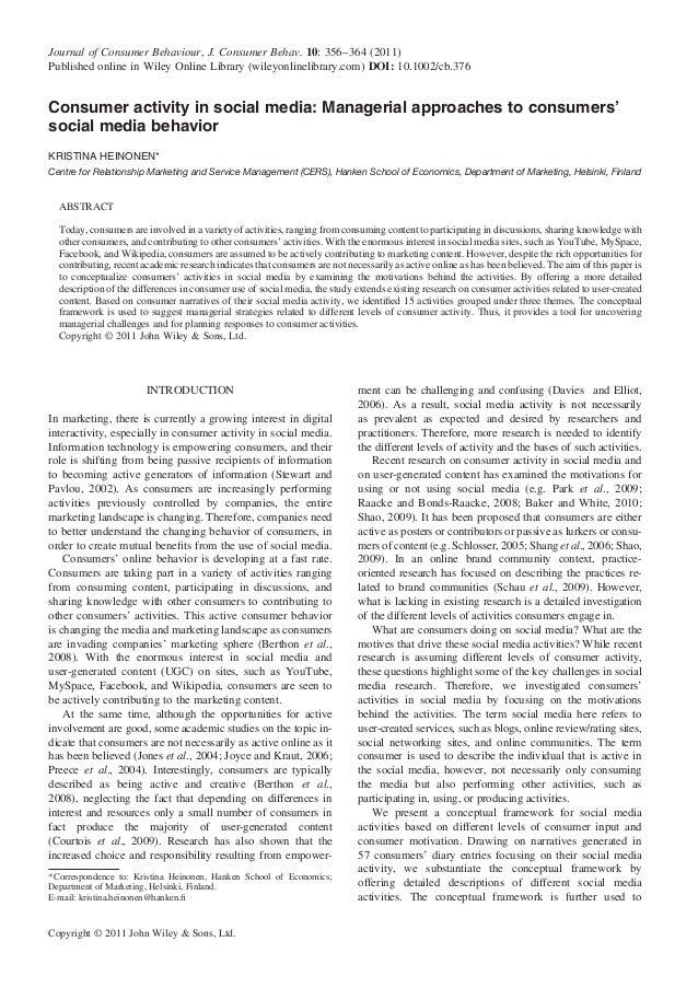 Consumer activity in social media  managerial approaches to consumers' social media behavior