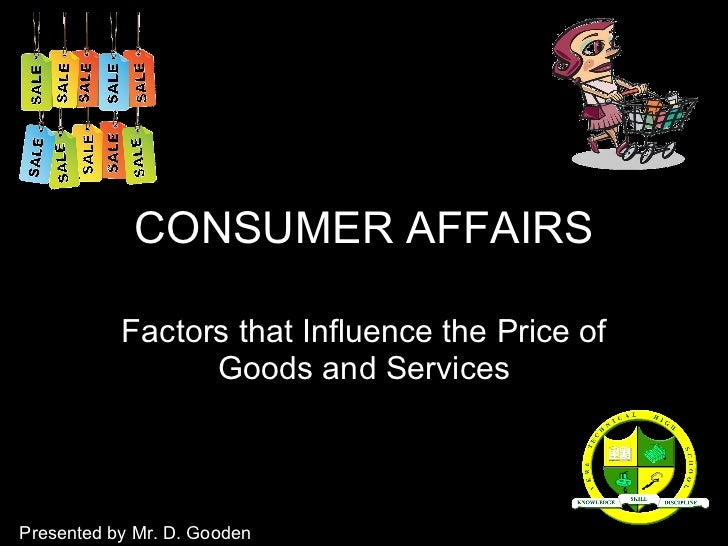 Consumer affairs (price formation of goods)