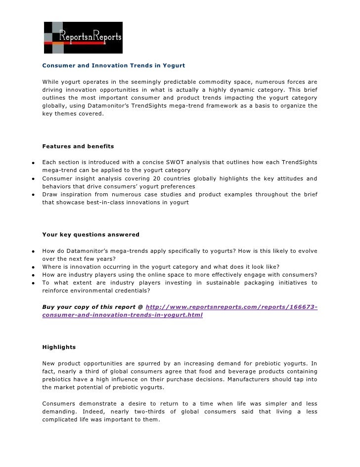 ReportsnReports - Consumer and innovation trends in yogurt