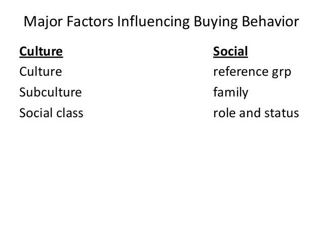 Major Factors Influencing Buying Behavior Culture Culture Subculture Social class  Social reference grp family role and st...