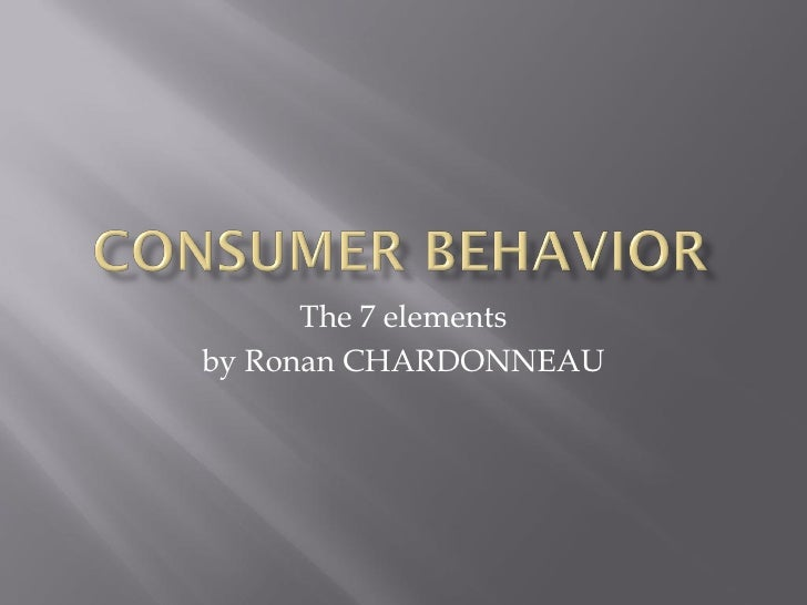 Consumer Behavior 7 Elements
