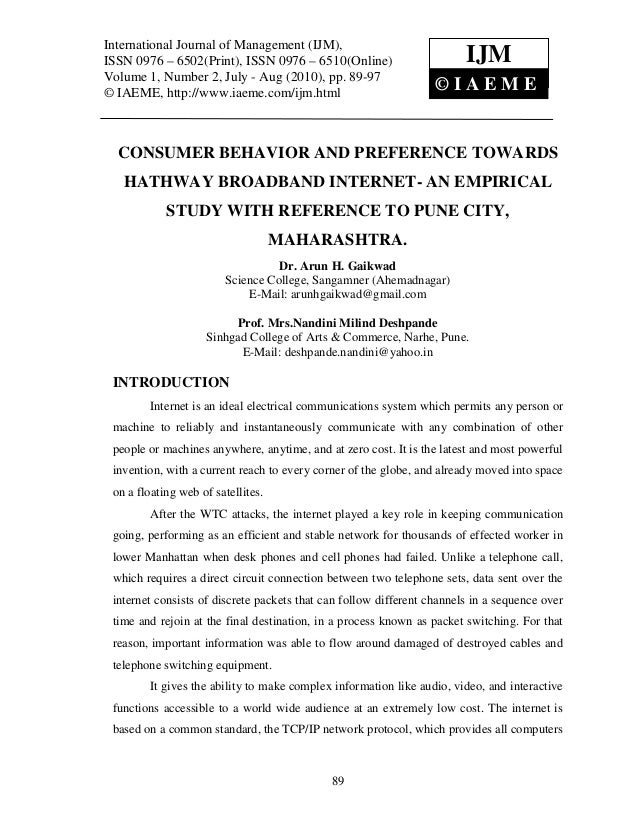 Consumer behavior and preference towards hathway broadband internet  an empirical study with reference to pune city, maharashtra