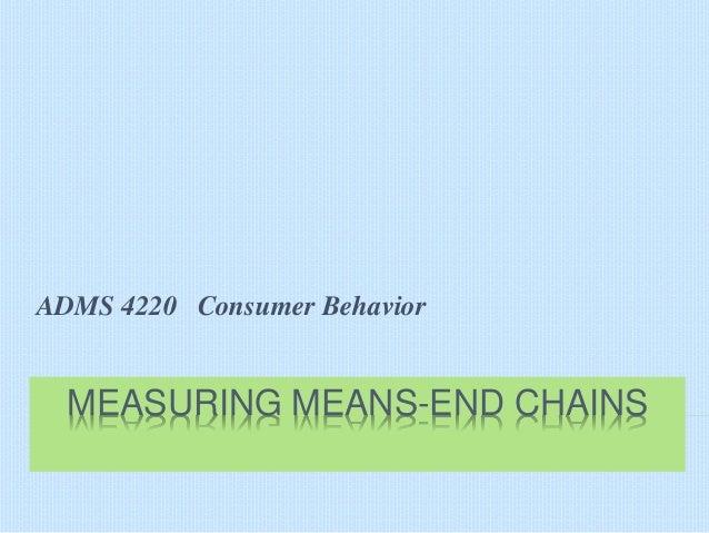 ADMS 4220 Consumer Behavior  MEASURING MEANS-END CHAINS