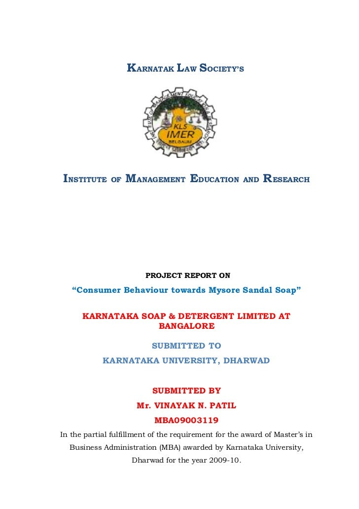 KARNATAK LAW SOCIETY'SINSTITUTE     OF   MANAGEMENT EDUCATION              AND   RESEARCH                         PROJECT ...
