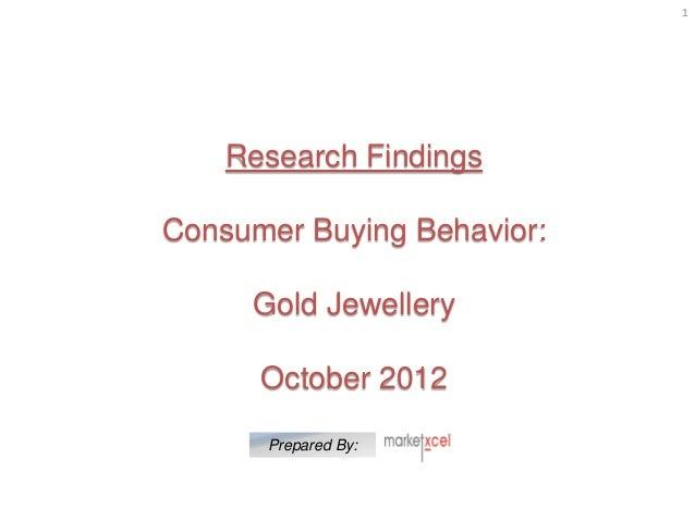 Consumer buying behaviour   gold jewellery