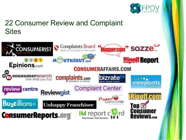 22 Consumer Review and ComplaintSites