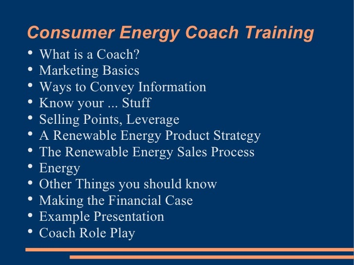 Energy Comsumer Coach Training 20090428