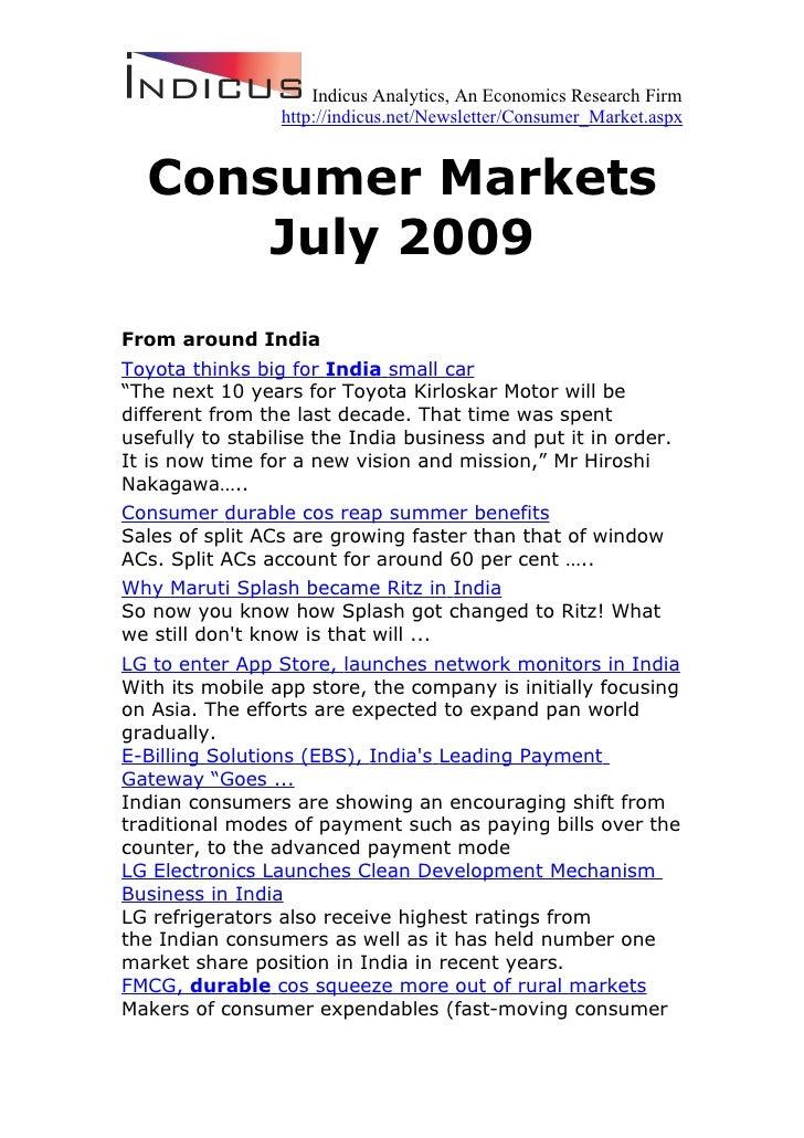 Consumer Markets July 2009