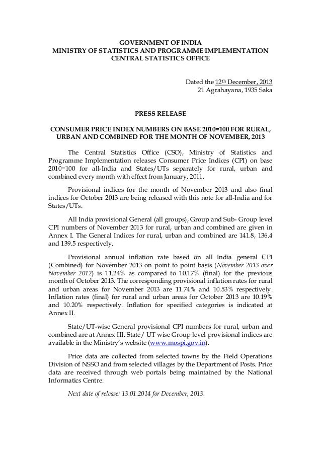 GOVERNMENT OF INDIA MINISTRY OF STATISTICS AND PROGRAMME IMPLEMENTATION CENTRAL STATISTICS OFFICE Dated the 12th December,...